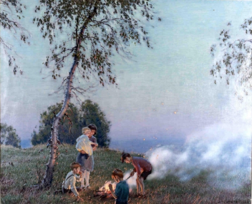 Around the Campfire, a painting by Edward Dufner