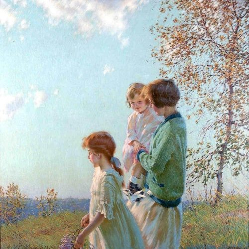 Mother and Child in a Meadow, painting by Edward Dufner